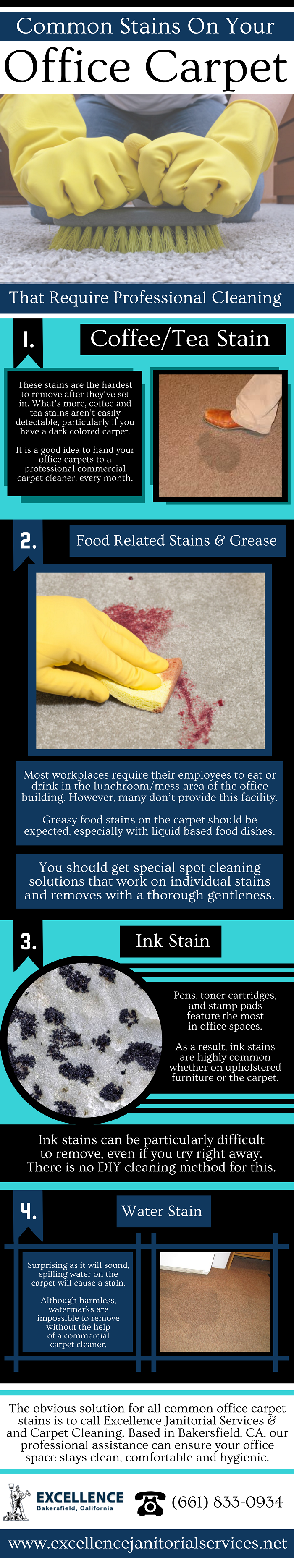 The obvious solution for all common office carpet stains is to call Excellence Janitorial Services and Carpet Cleaning.